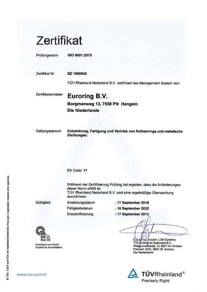Euroring ISO 9001 Zertifikat